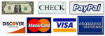 we accept Visa, MasterCard, American Express, Cash, Checks, and PayPal
